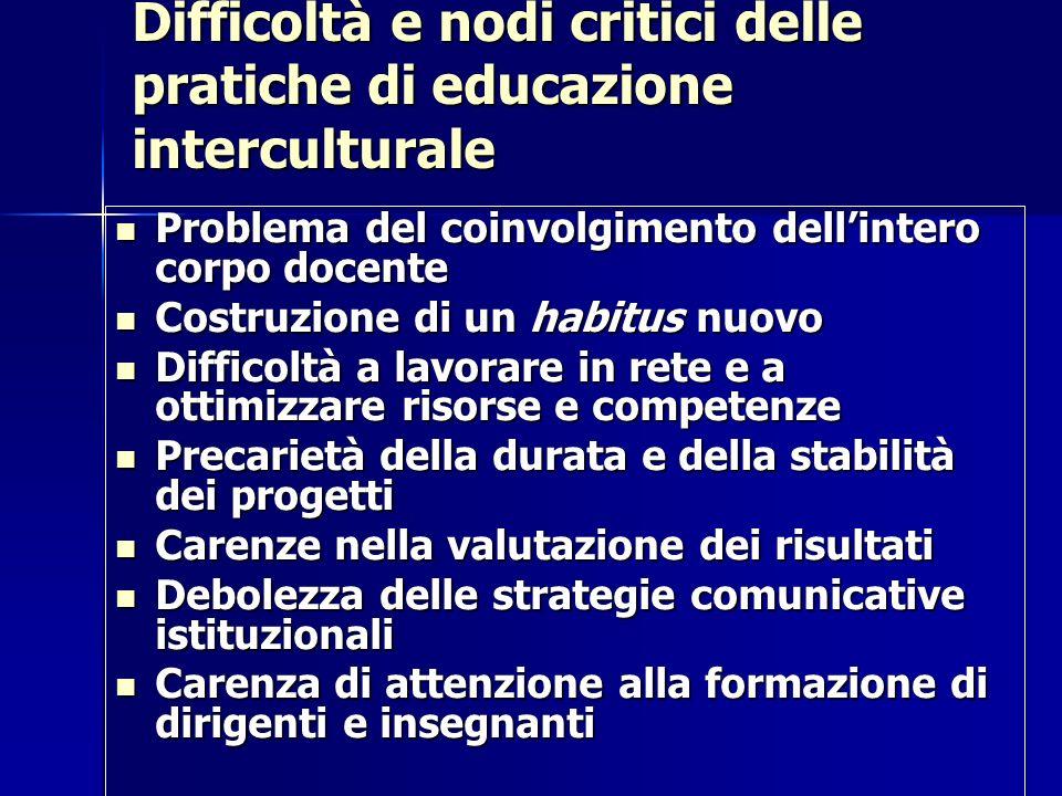 Difficoltà e nodi critici delle pratiche di educazione interculturale