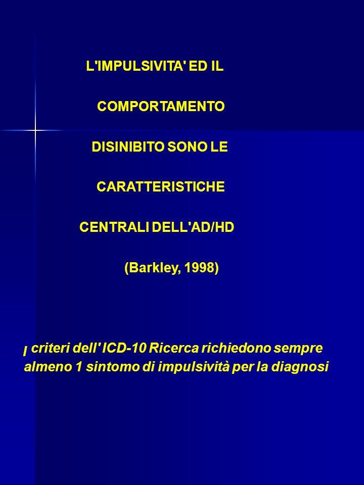 L IMPULSIVITA ED IL COMPORTAMENTO. DISINIBITO SONO LE. CARATTERISTICHE. CENTRALI DELL AD/HD. (Barkley, 1998)