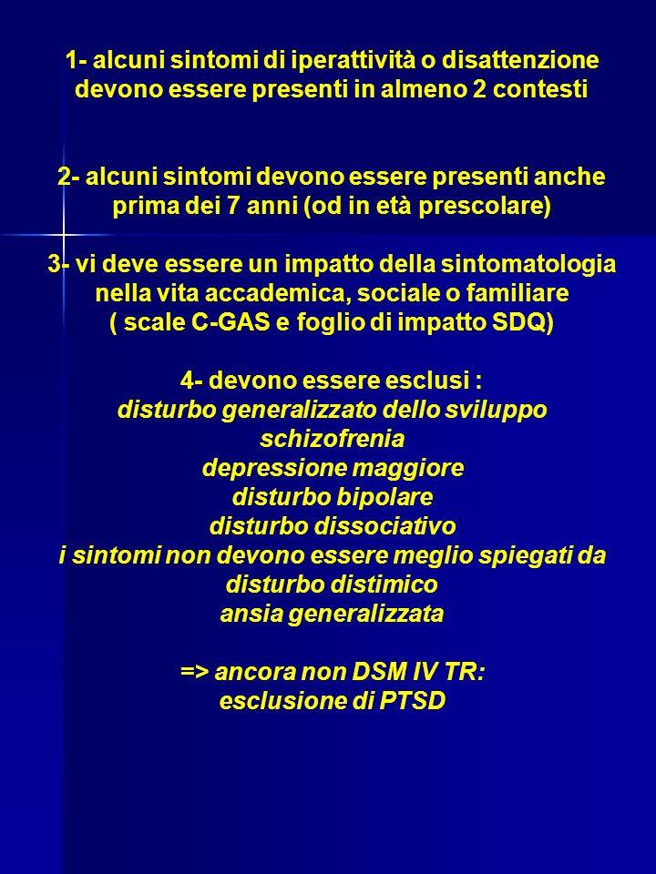 1- alcuni sintomi di iperattività o disattenzione