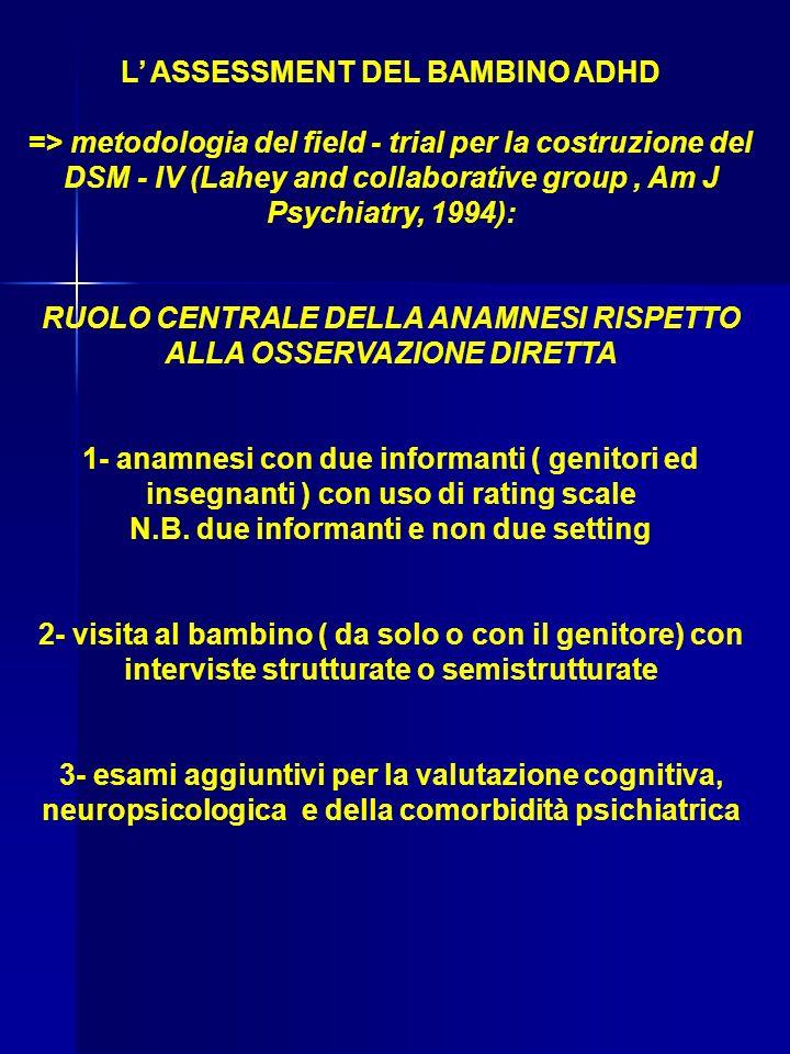 L' ASSESSMENT DEL BAMBINO ADHD