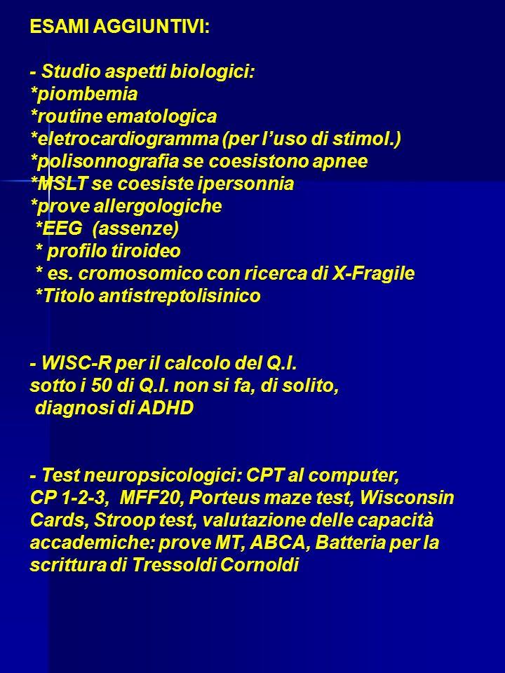 ESAMI AGGIUNTIVI: - Studio aspetti biologici: *piombemia. *routine ematologica. *eletrocardiogramma (per l'uso di stimol.)