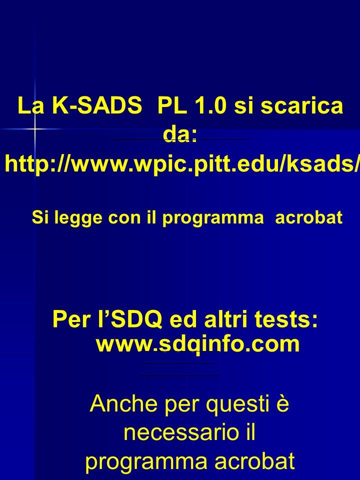 La K-SADS PL 1.0 si scarica da: