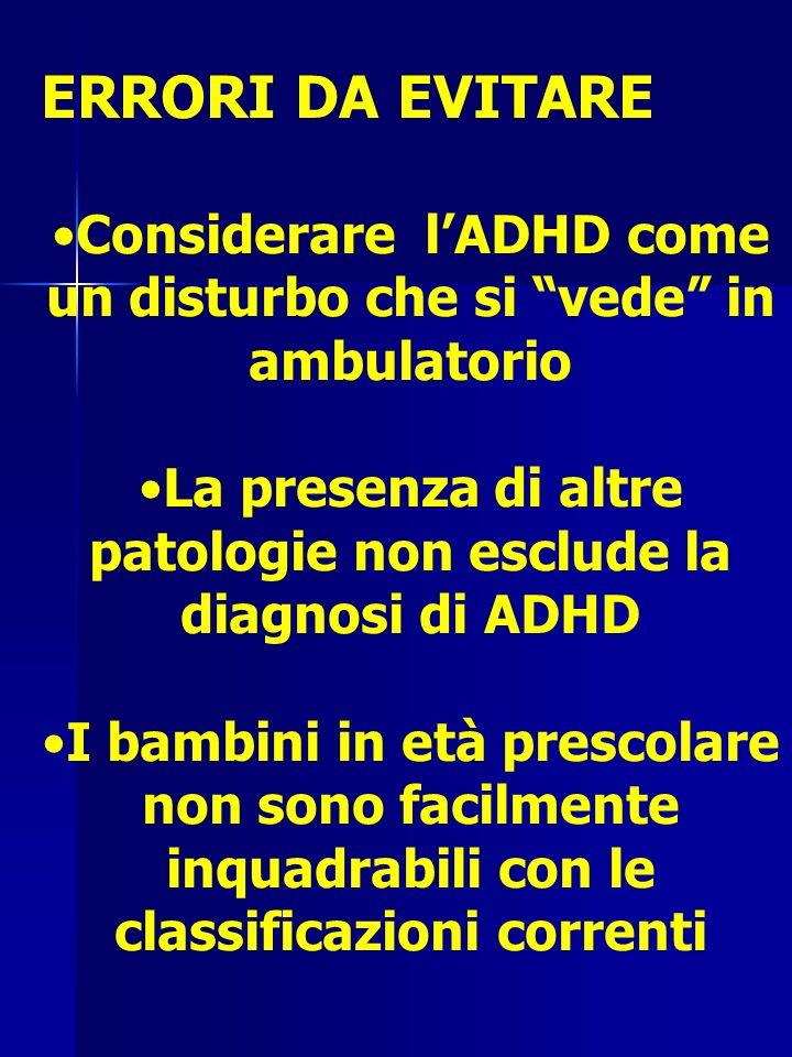 ERRORI DA EVITARE Considerare l'ADHD come un disturbo che si vede in ambulatorio. La presenza di altre patologie non esclude la diagnosi di ADHD.