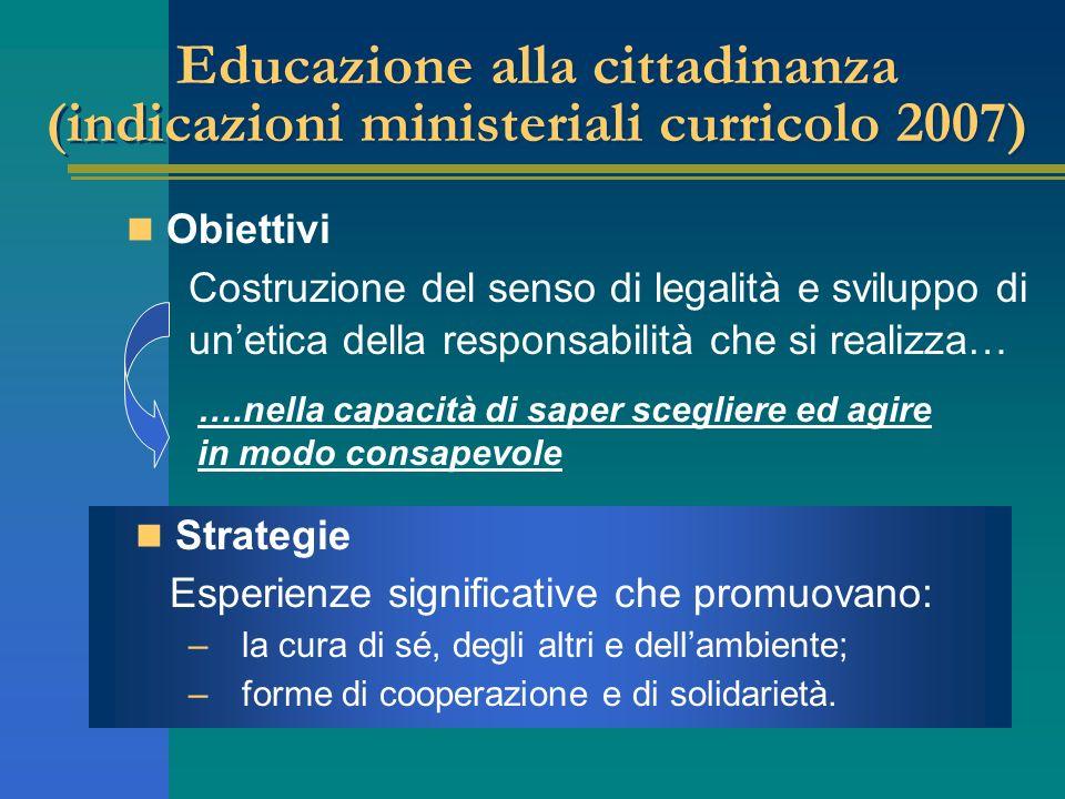 Educazione alla cittadinanza (indicazioni ministeriali curricolo 2007)
