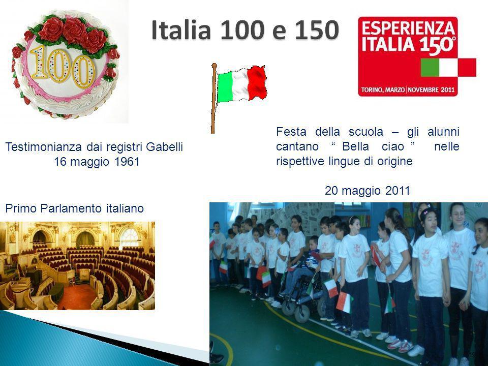 Italia 100 e 150 Festa della scuola – gli alunni cantano Bella ciao nelle rispettive lingue di origine.
