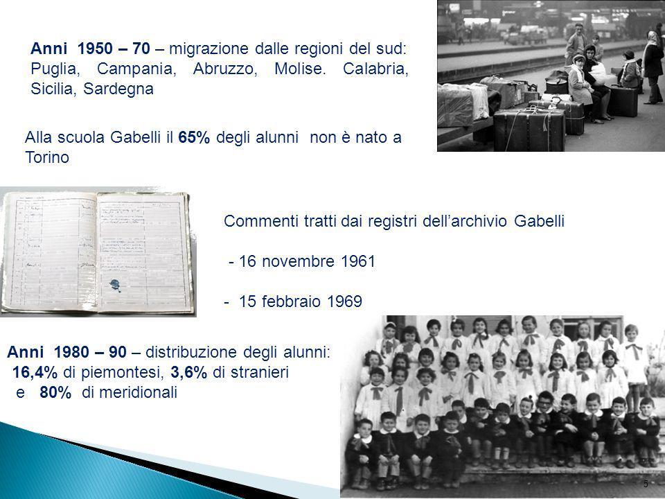 Anni 1950 – 70 – migrazione dalle regioni del sud: