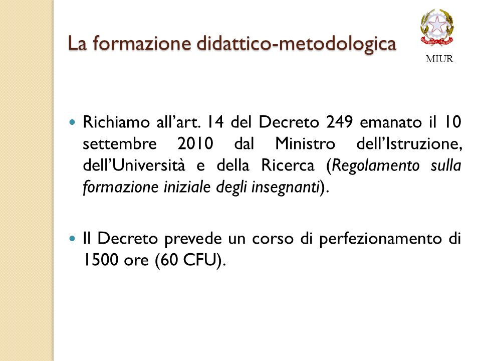 La formazione didattico-metodologica