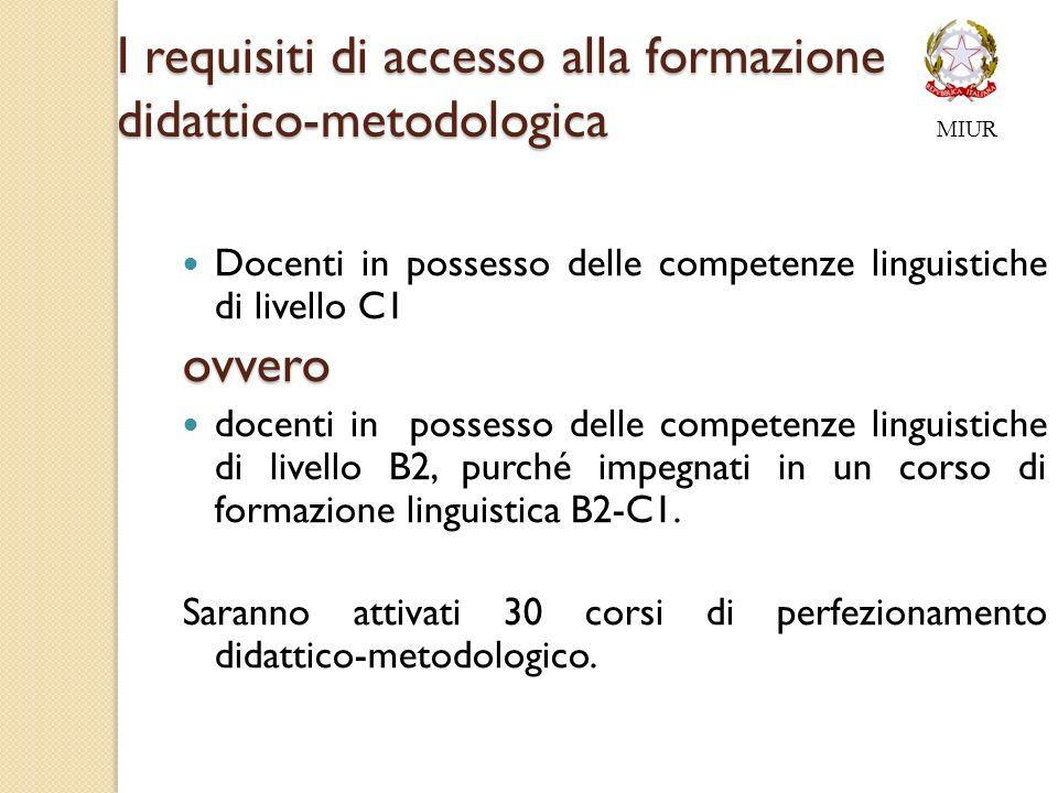 I requisiti di accesso alla formazione didattico-metodologica