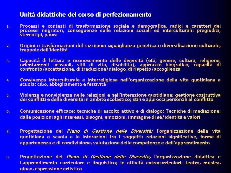 Unità didattiche del corso di perfezionamento