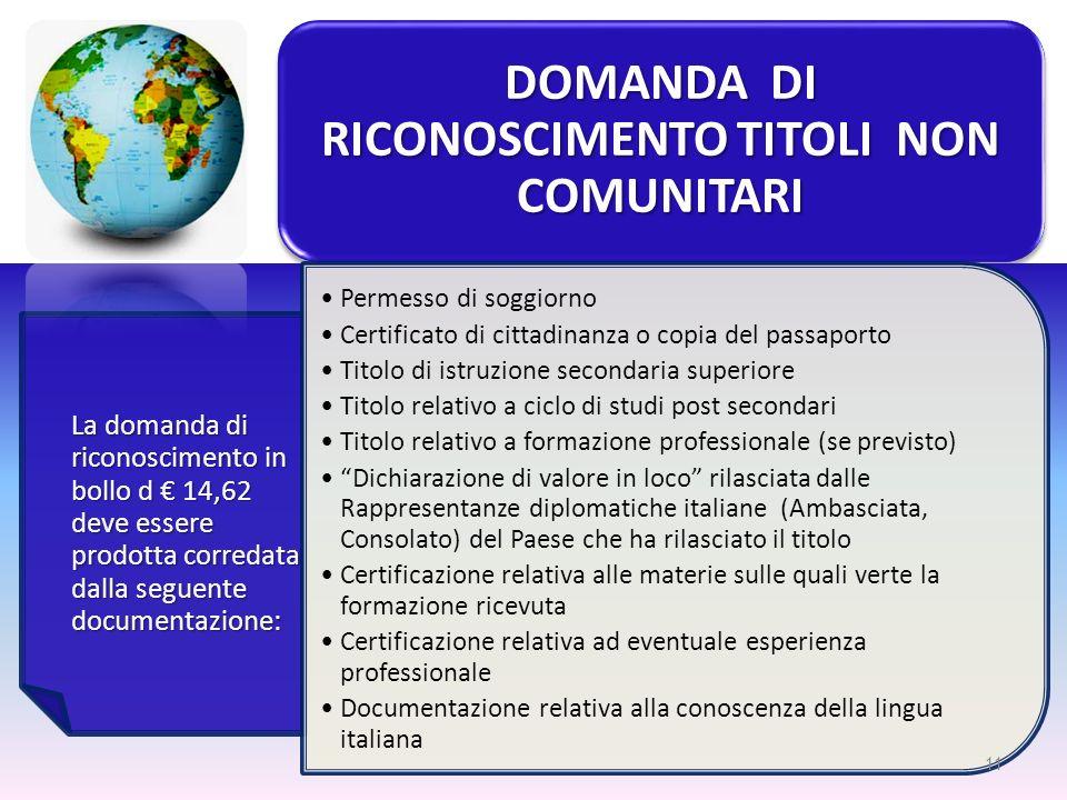 DOMANDA DI RICONOSCIMENTO TITOLI NON COMUNITARI