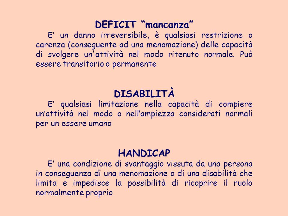 DEFICIT mancanza DISABILITÀ HANDICAP