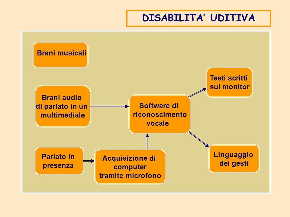 DISABILITA' UDITIVA Brani musicali Testi scritti sul monitor