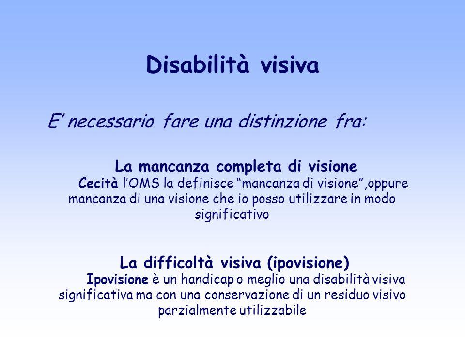Disabilità visiva E' necessario fare una distinzione fra: