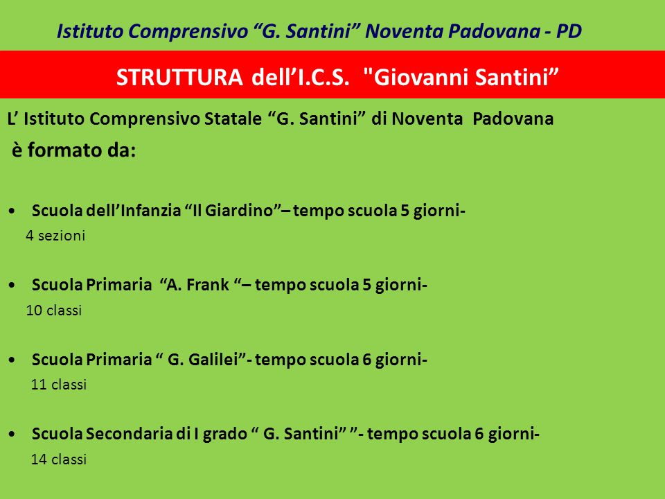 STRUTTURA dell'I.C.S. Giovanni Santini