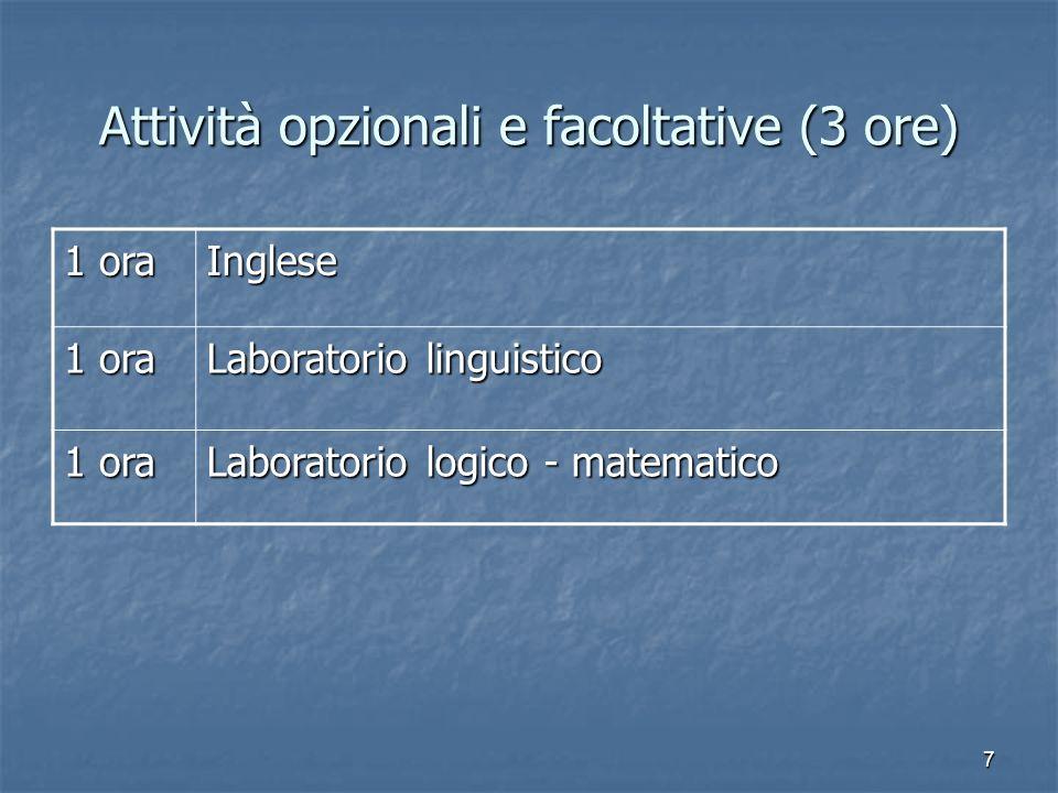 Attività opzionali e facoltative (3 ore)