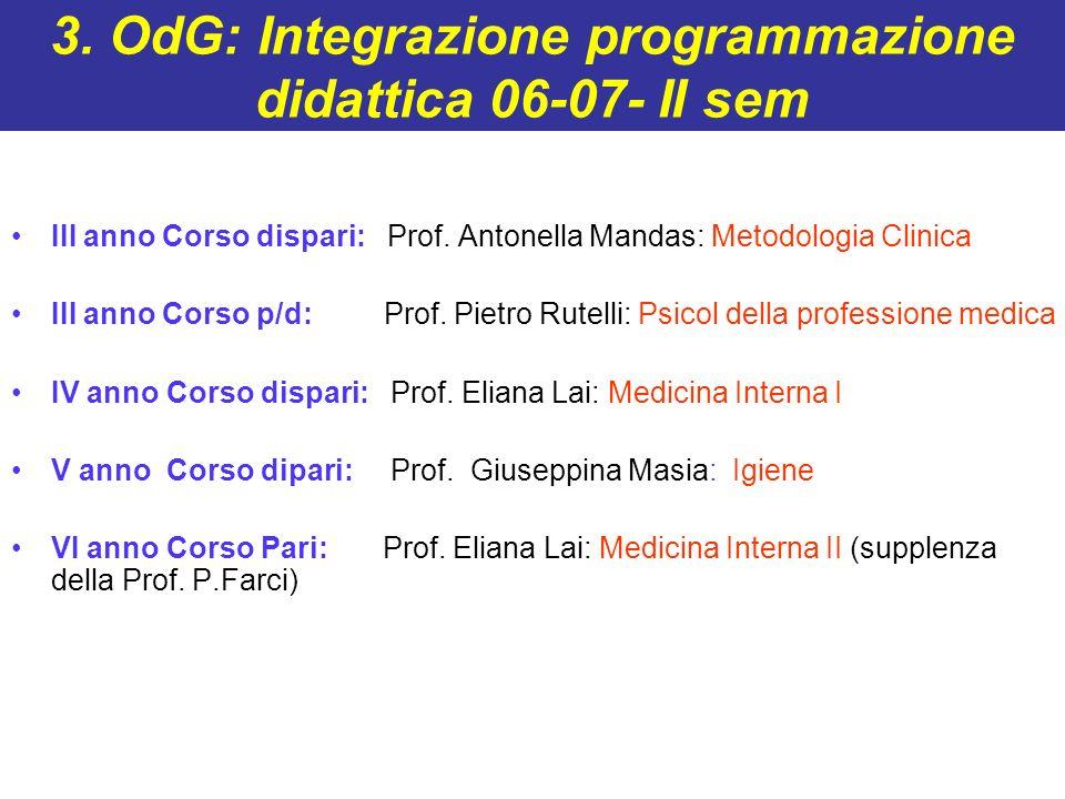 3. OdG: Integrazione programmazione didattica 06-07- II sem
