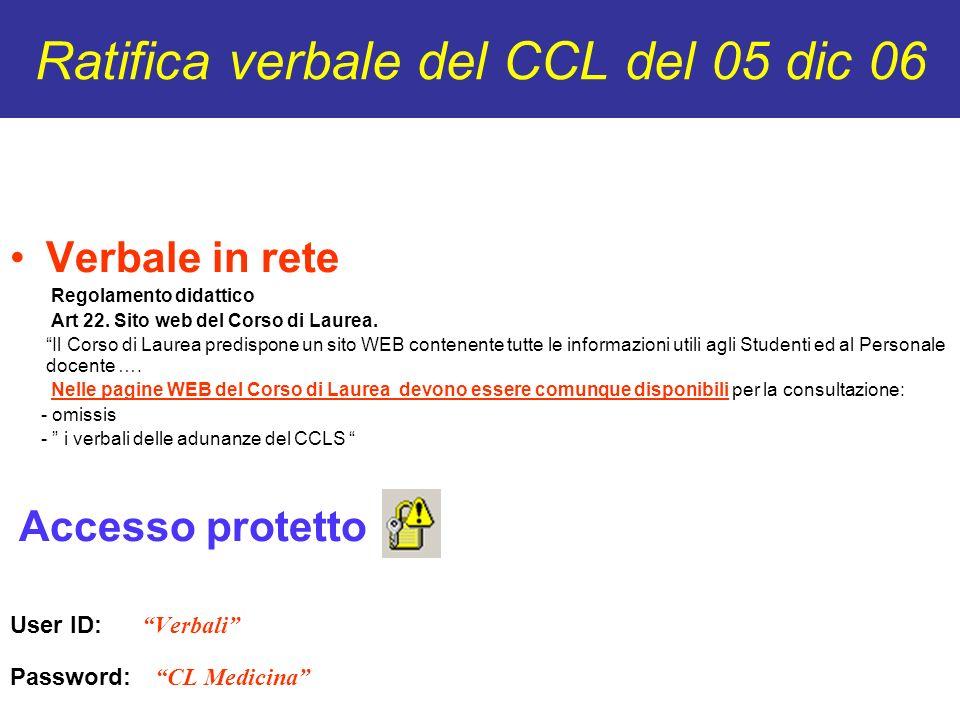 Ratifica verbale del CCL del 05 dic 06