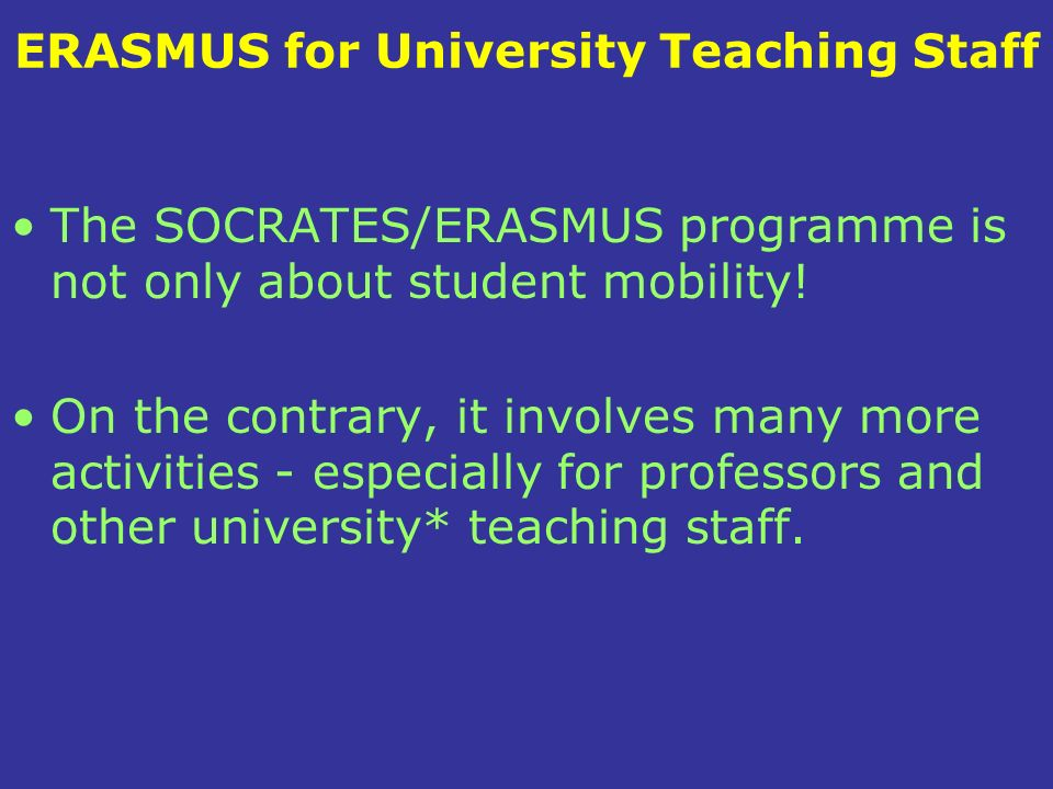 ERASMUS for University Teaching Staff