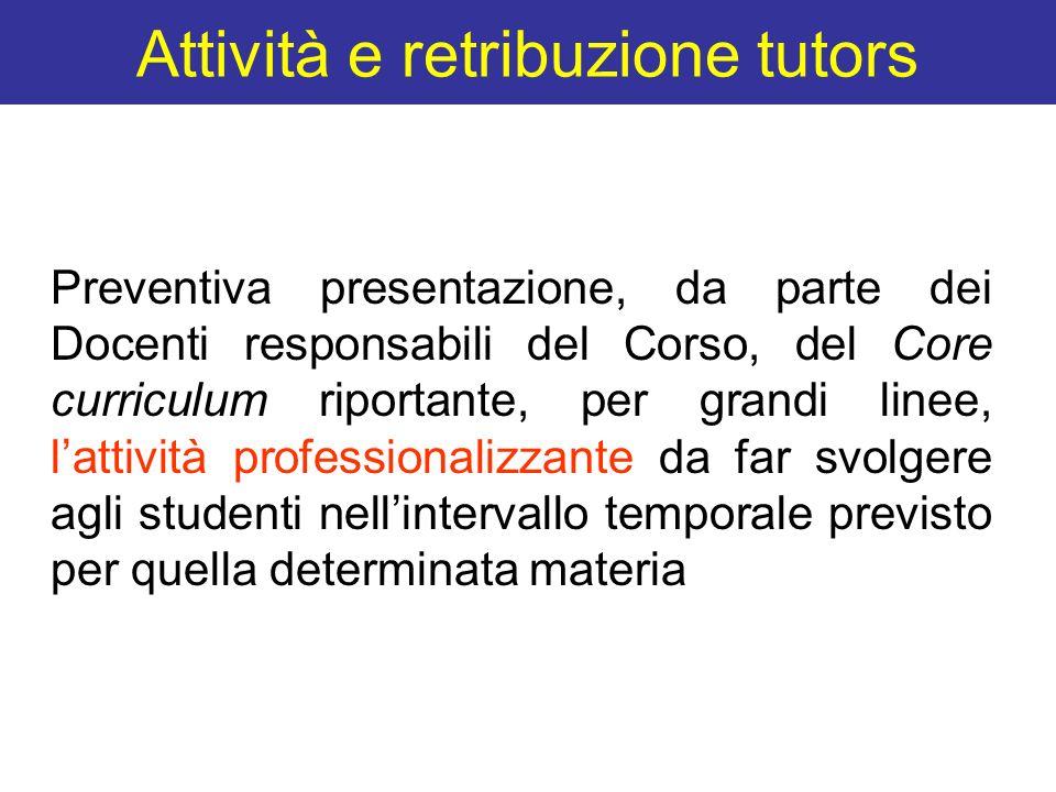 Attività e retribuzione tutors