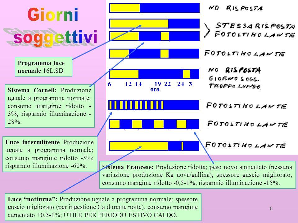 Giorni soggettivi Programma luce normale 16L:8D