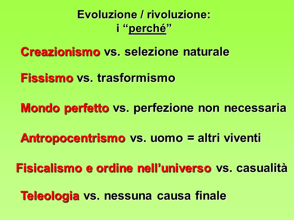 Evoluzione / rivoluzione:
