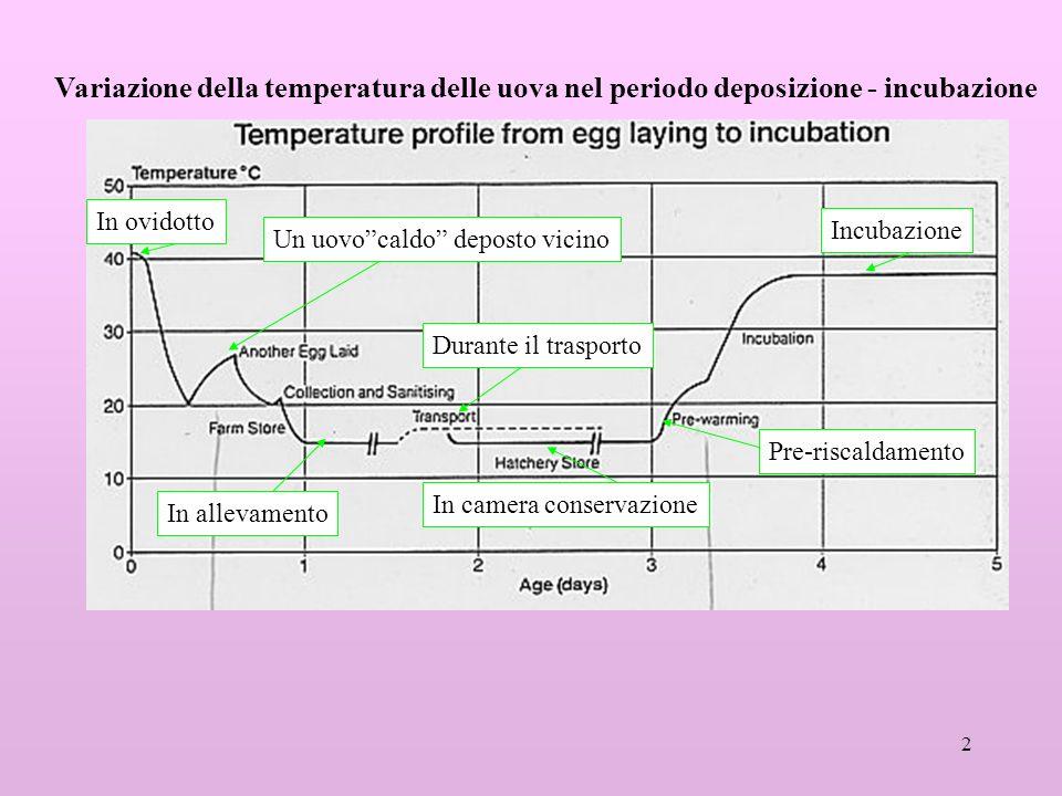 Variazione della temperatura delle uova nel periodo deposizione - incubazione