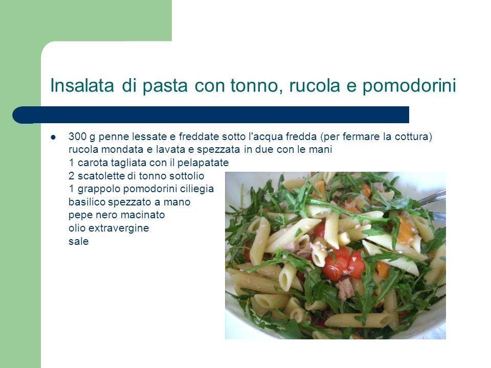 Insalata di pasta con tonno, rucola e pomodorini