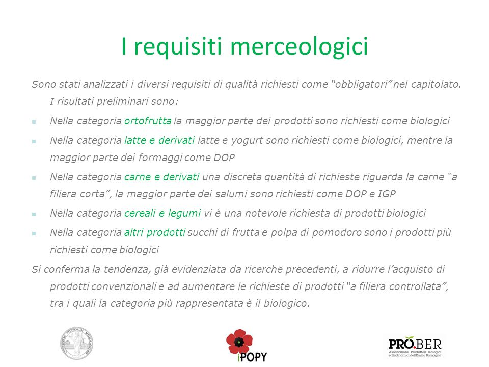 I requisiti merceologici