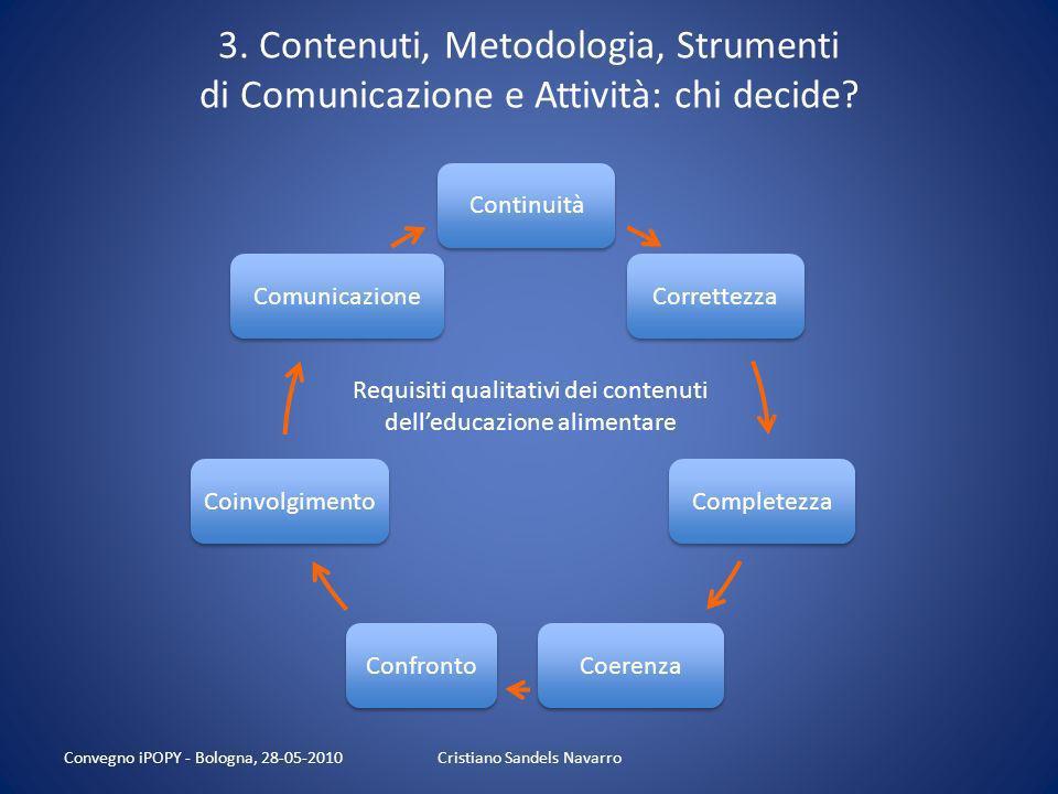 3. Contenuti, Metodologia, Strumenti di Comunicazione e Attività: chi decide