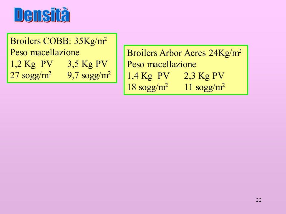 Densità Broilers COBB: 35Kg/m2 Peso macellazione 1,2 Kg PV 3,5 Kg PV
