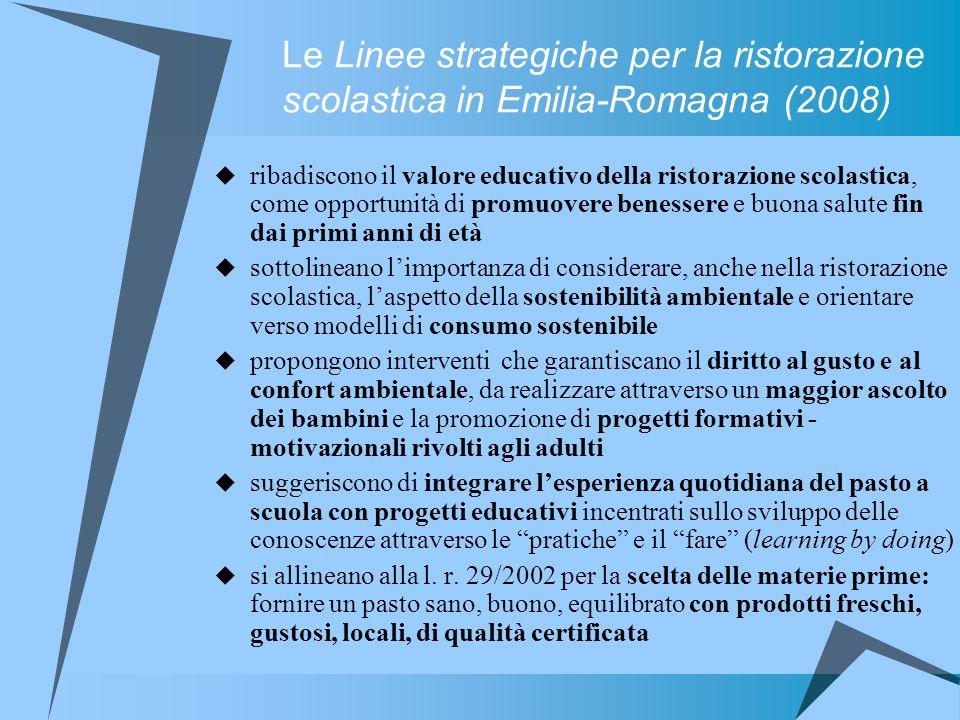 Le Linee strategiche per la ristorazione scolastica in Emilia-Romagna (2008)