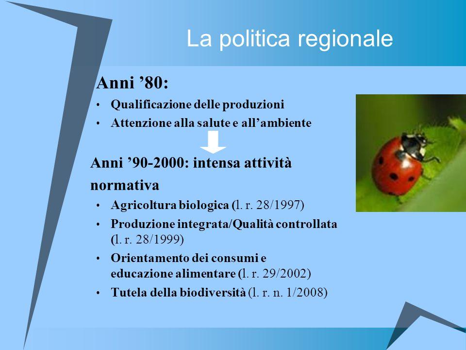 La politica regionale Anni '80: Anni '90-2000: intensa attività