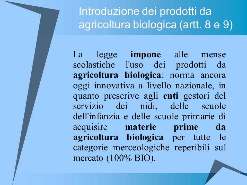 Introduzione dei prodotti da agricoltura biologica (artt. 8 e 9)