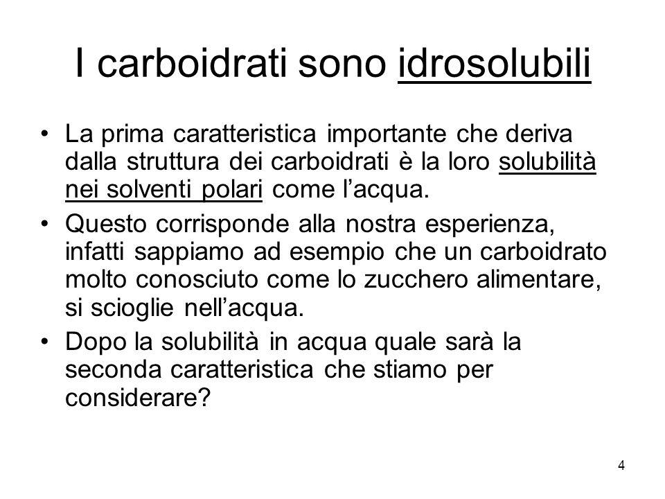 I carboidrati sono idrosolubili