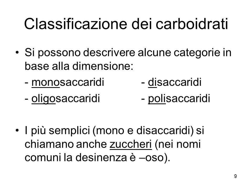 Classificazione dei carboidrati