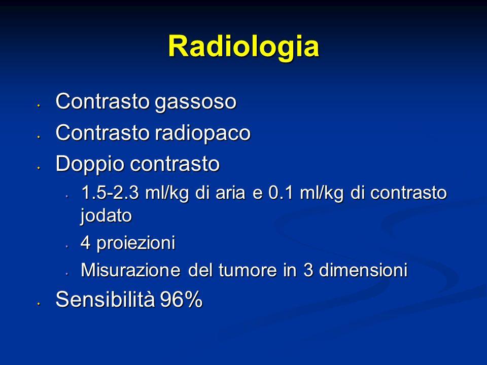 Radiologia Contrasto gassoso Contrasto radiopaco Doppio contrasto