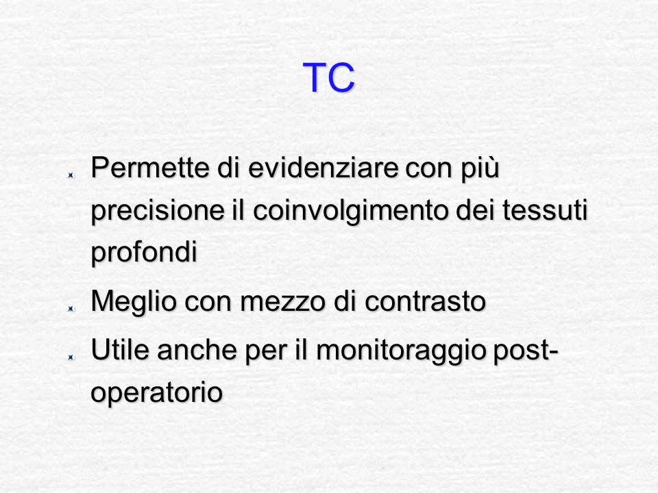 TC Permette di evidenziare con più precisione il coinvolgimento dei tessuti profondi. Meglio con mezzo di contrasto.