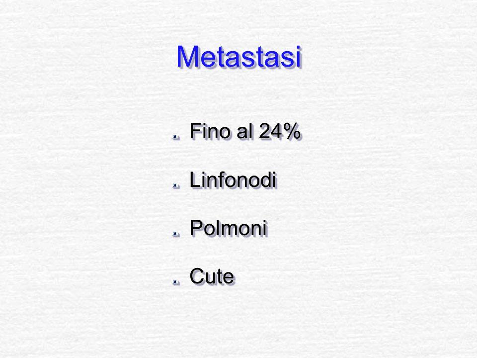 Metastasi Fino al 24% Linfonodi Polmoni Cute