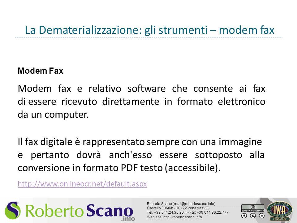 La Dematerializzazione: gli strumenti – modem fax