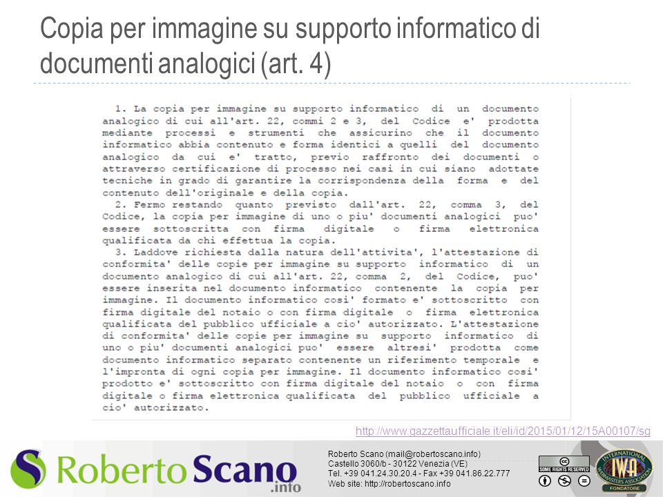 Copia per immagine su supporto informatico di documenti analogici (art