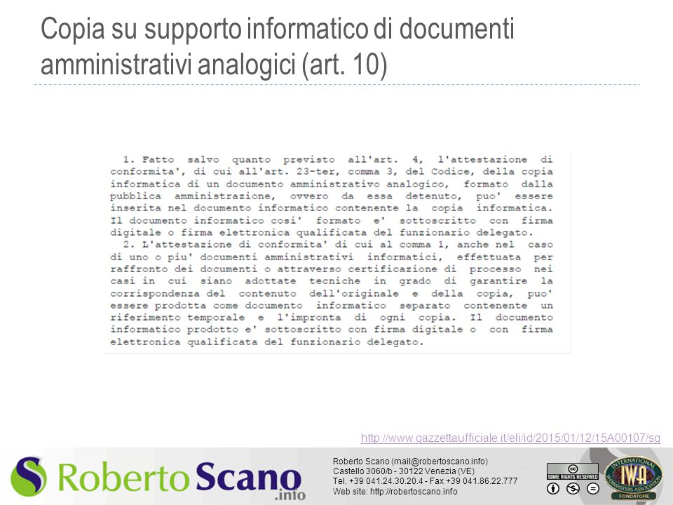 Copia su supporto informatico di documenti amministrativi analogici (art. 10)