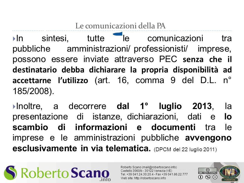 Le comunicazioni della PA