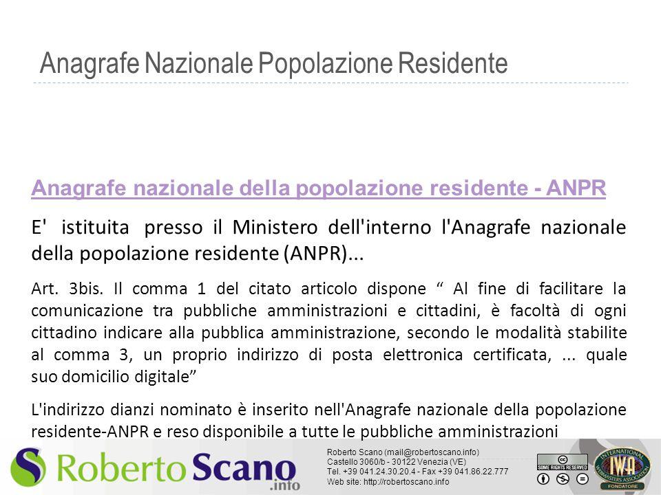 Anagrafe Nazionale Popolazione Residente