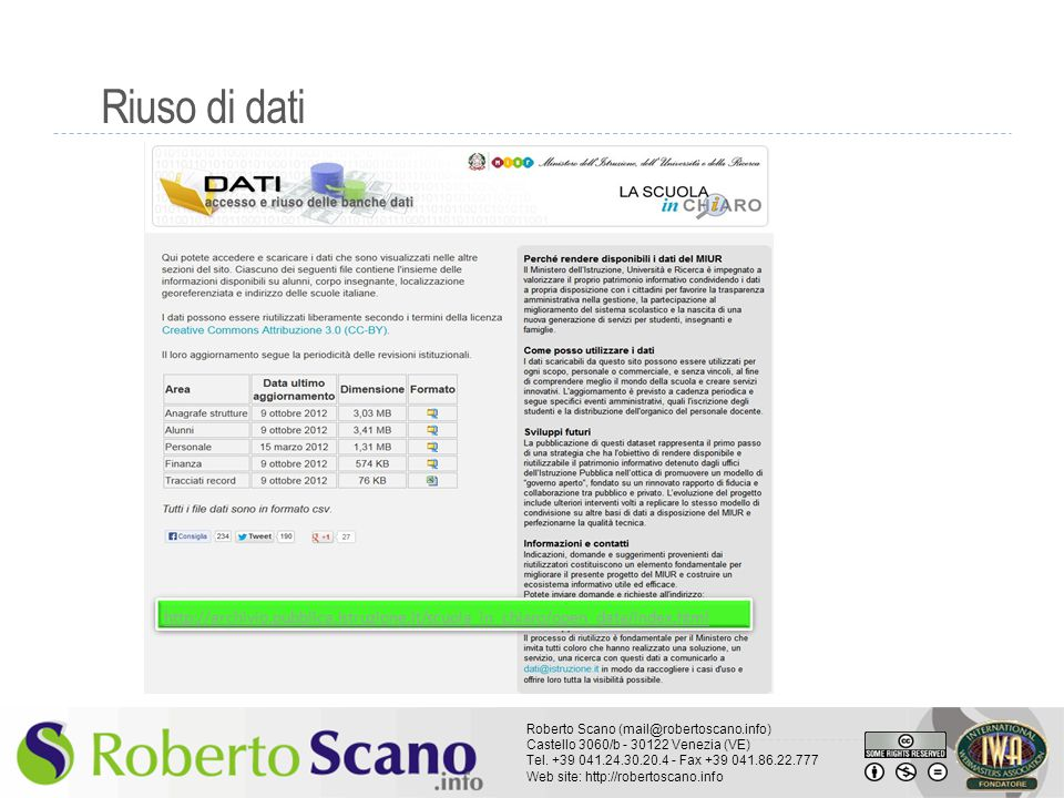 Riuso di dati http://archivio.pubblica.istruzione.it/scuola_in_chiaro/open_data/index.html