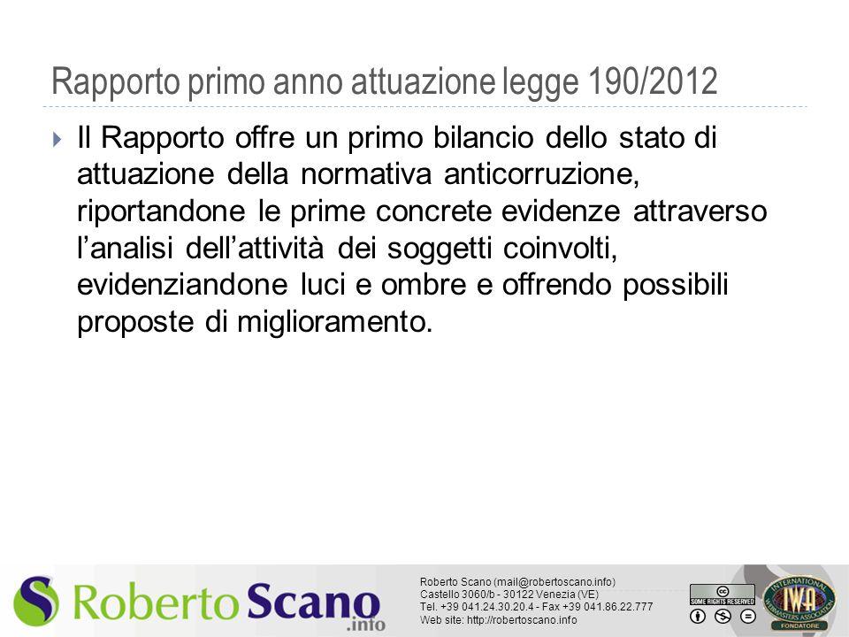 Rapporto primo anno attuazione legge 190/2012