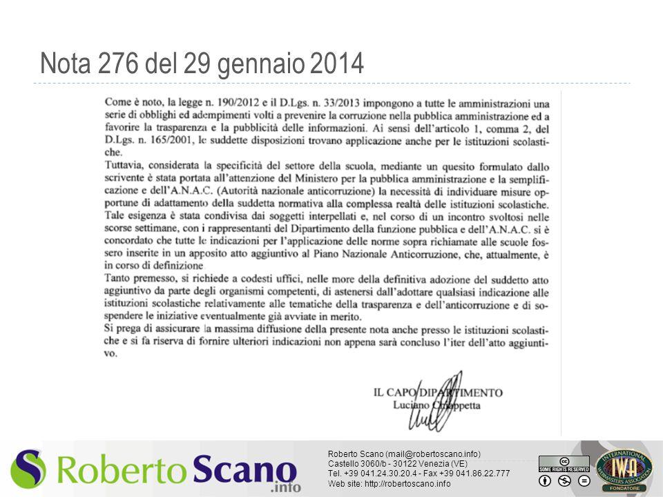 Nota 276 del 29 gennaio 2014