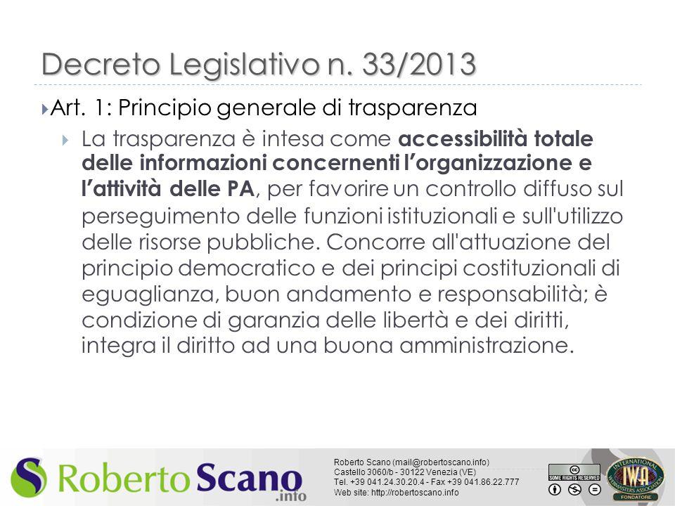 Decreto Legislativo n. 33/2013