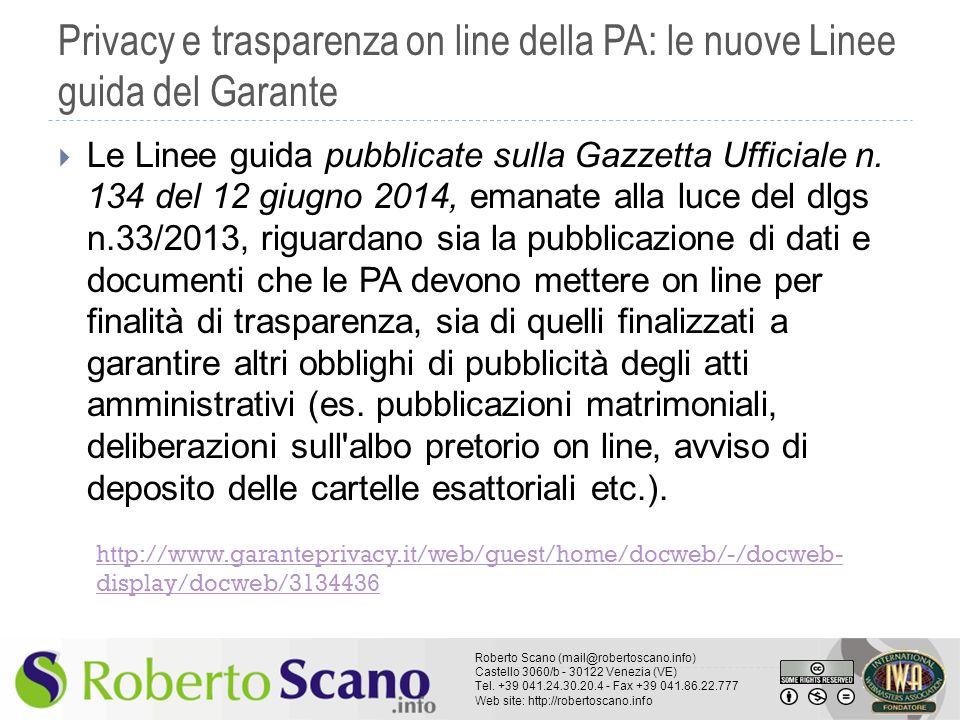 Privacy e trasparenza on line della PA: le nuove Linee guida del Garante