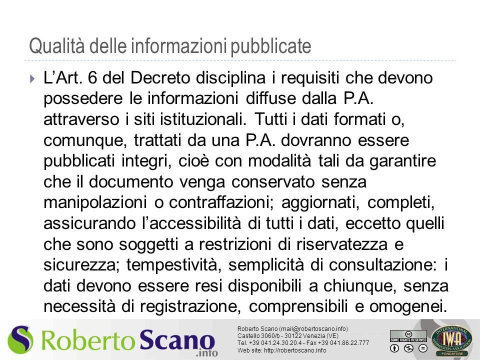 Qualità delle informazioni pubblicate