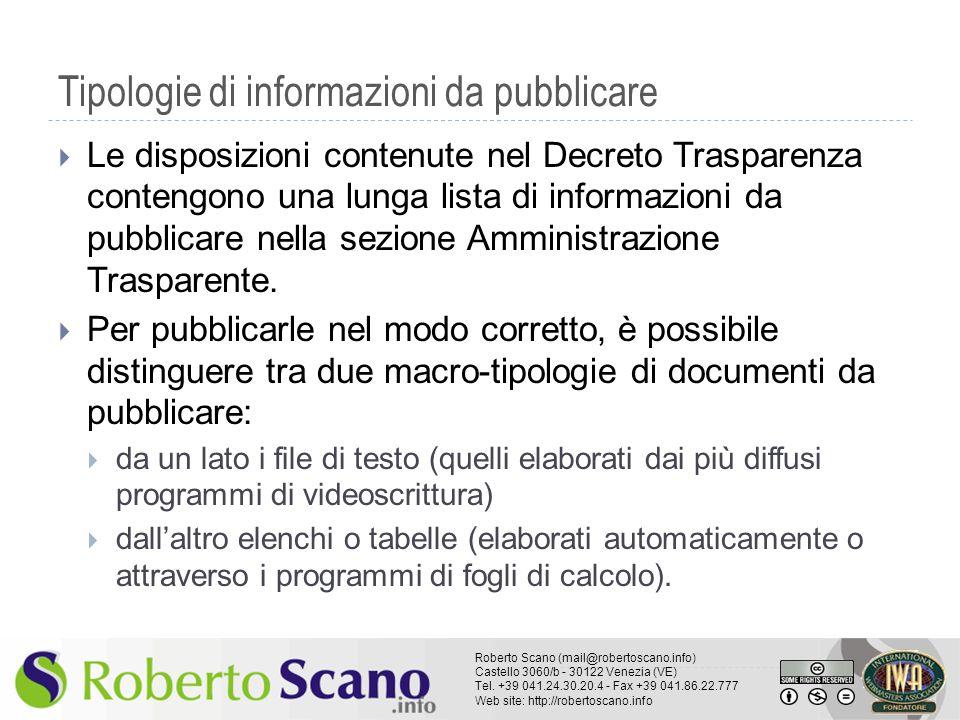 Tipologie di informazioni da pubblicare